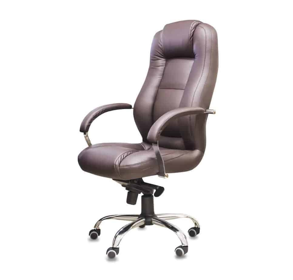 The office chair from brown leather with wide seat