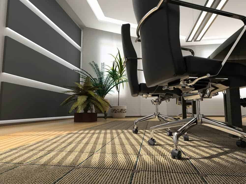 an area rug placed under office chairs