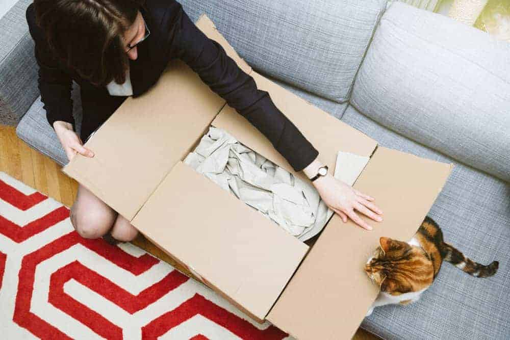 Business woman unpacking unboxing cardboard box