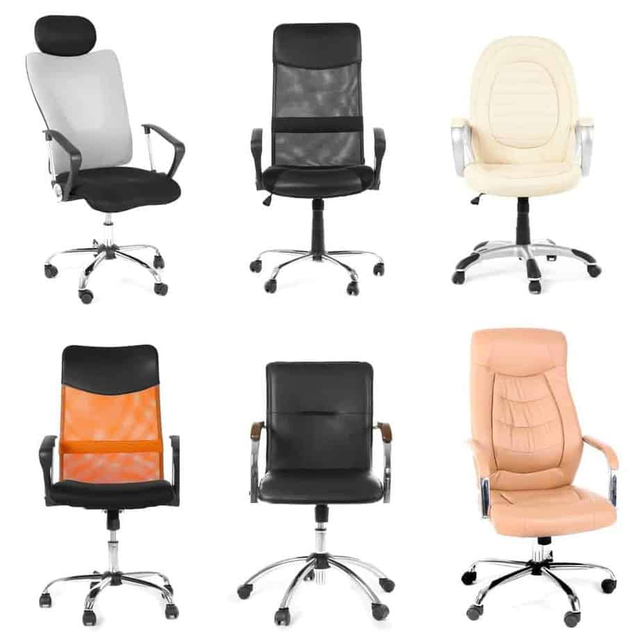 Collage of different office chairs for sitting long hours