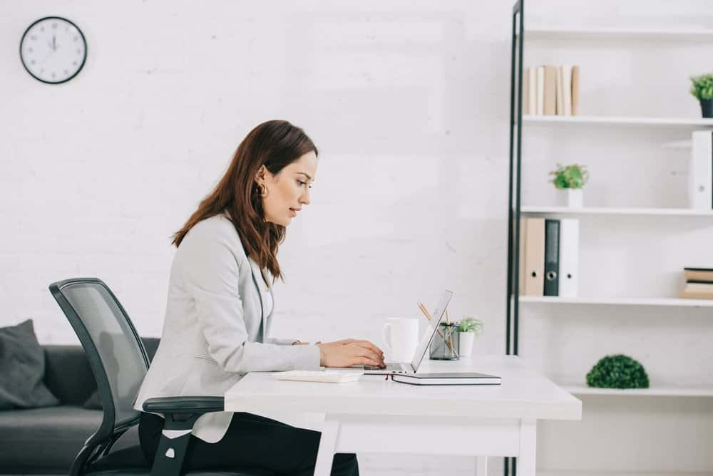 woman sitting in an office chair