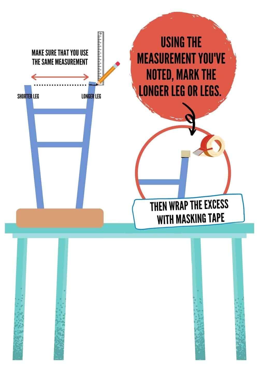 mark the excess length of the longer leg
