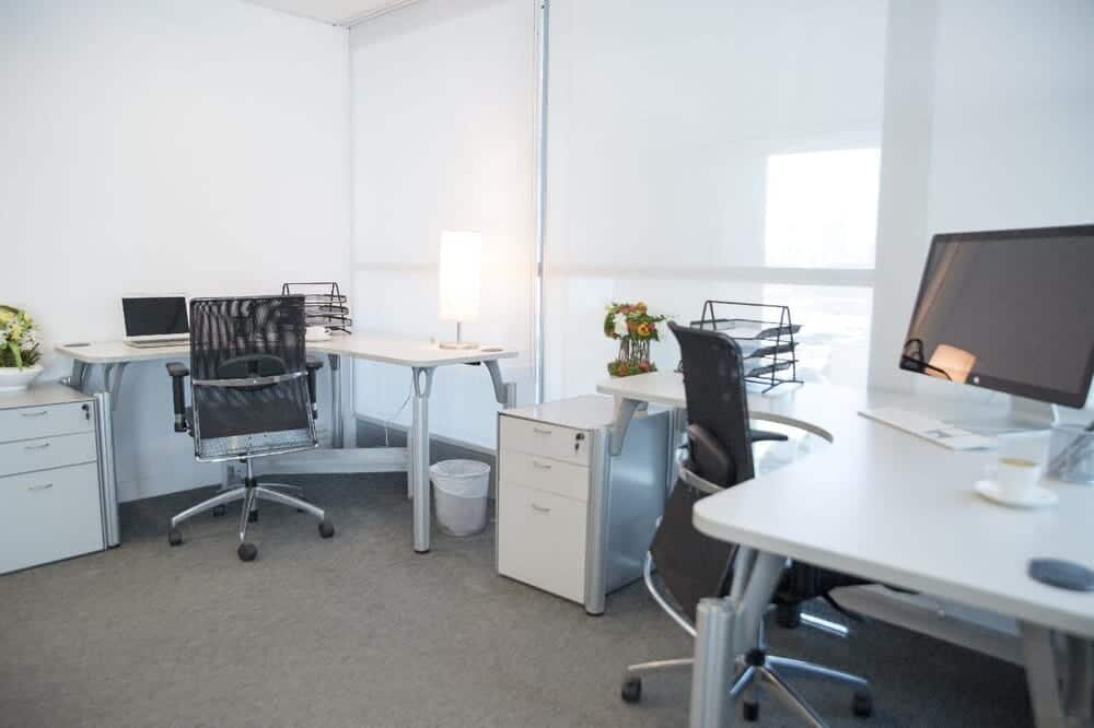 mesh and leather chairs in office