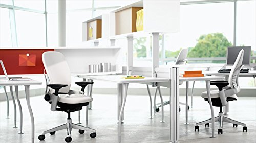 Steelcase Leap Desk Chair in Buzz2 Black Fabric - Highly Adjustable Arms - Black Frame and Base - Soft Dual Wheel Hard Floor Casters