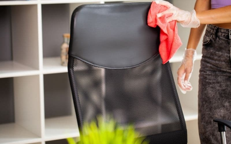 cleaning an office chair